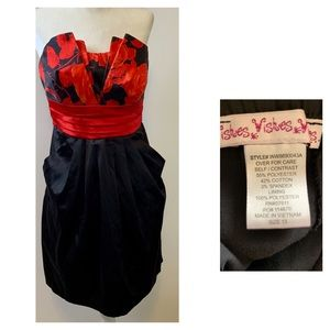 Wishes size 13 black & red floral strapless dress